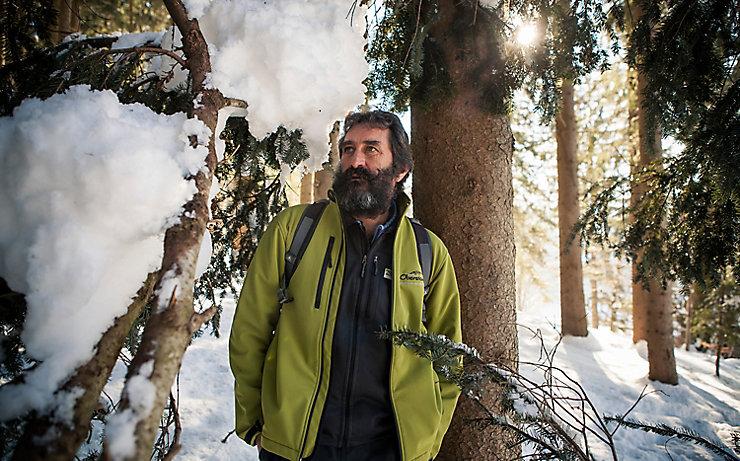 Theo Palecek in der freien Natur zwischen Bäumen und Sträuchern.