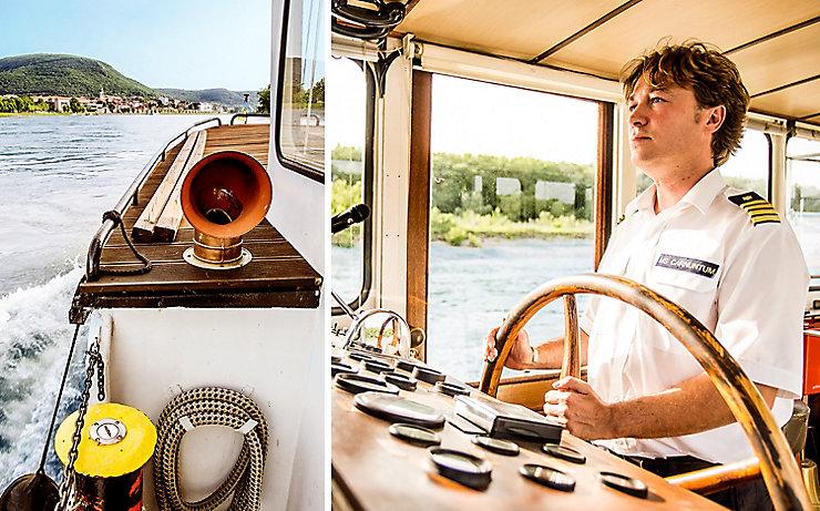 Kapitän Haider auf seinem Schiff