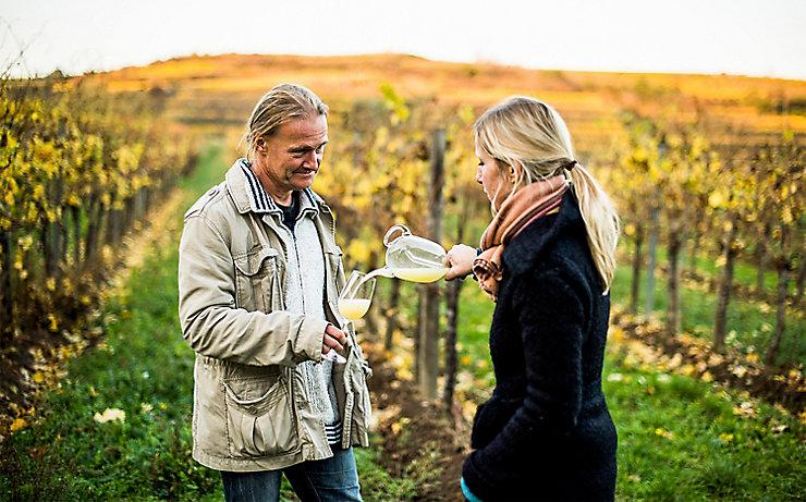 Die Winzerin Barbara Öhlzelt im Weingarten