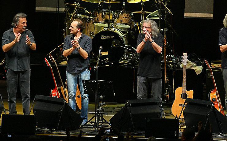 Gert Steinbäcker mit seiner Band nach einem Auftritt