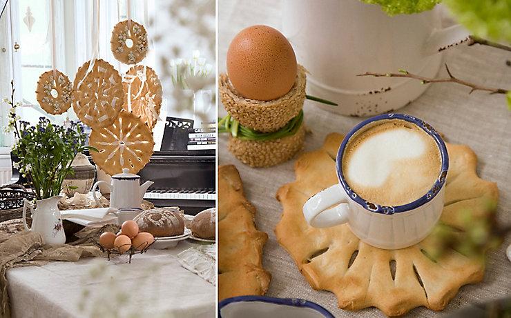 Gedeckter Ostertisch mit Kaffee, Ei und Brot.