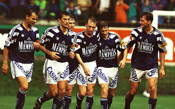 Zwischen 1991 und 1993 gewannen Peter Stöger (Mitte) und Ralph Hasenhüttl (rechts) mit Austria Wien je drei Mal die Meisterschaft und den ÖFB-Pokal.