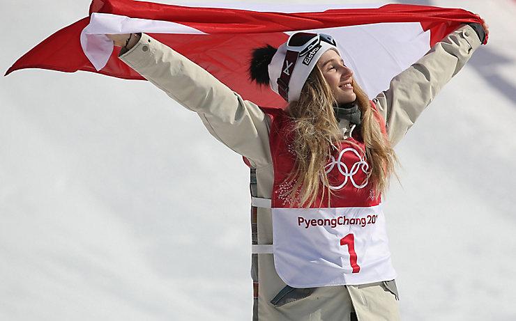 Anna Gasser im Moment des Triumphs bei den Olympischen Spielen 2018 in Pyeongjang.