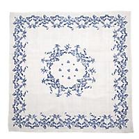 Blaudruck-Mitteldecke Blumenborte