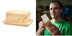 Butterdose aus Zirbenholz