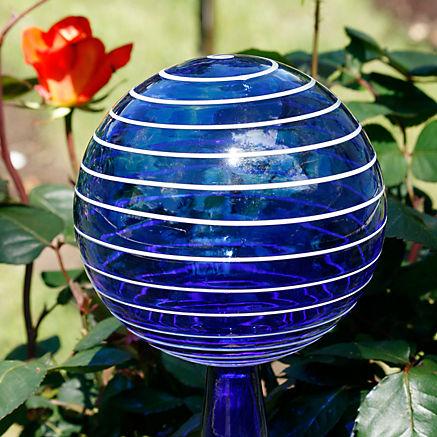 Mundgeblasene Rosenkugel blau