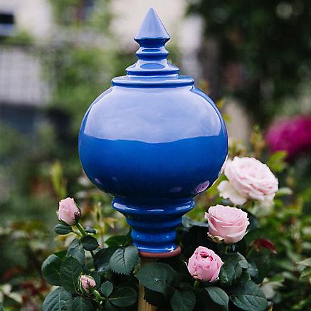 Rosenkugel handgetöpfert blau