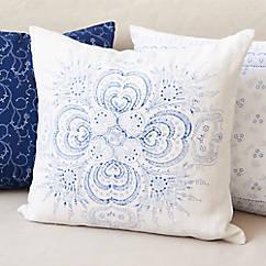 Bauernleinen-Kissen Blumenstrauß