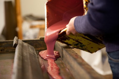 Handbedruckte Tischdecke