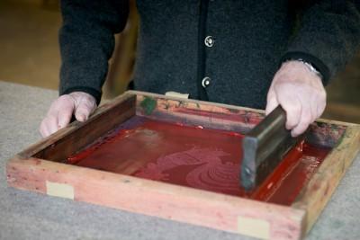 Handbedrucktes Geschirrtuch