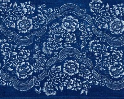 Blaudruck-Läufer Blumenwelle