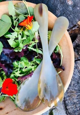 Salatbesteck aus Horn